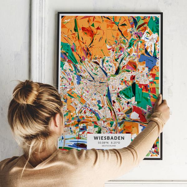 City-Map Wiesbaden im Stil Kandinsky