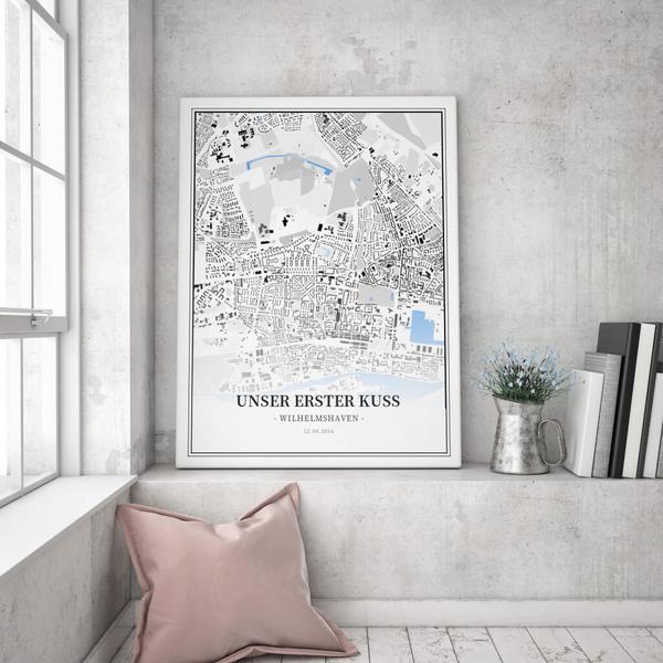 Stadtkarte Wilhelmshaven im Stil Schwarzplan
