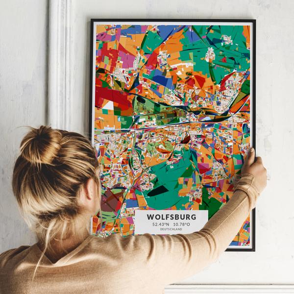City-Map Wolfsburg im Stil Kandinsky