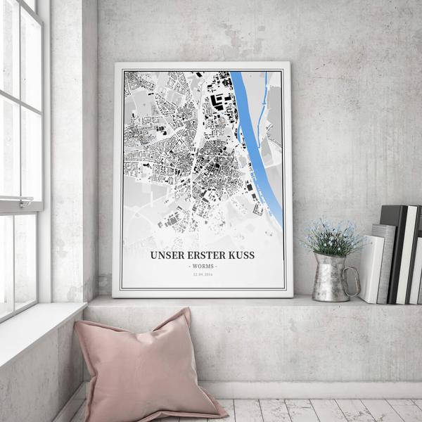 Stadtkarte Worms im Stil Schwarzplan