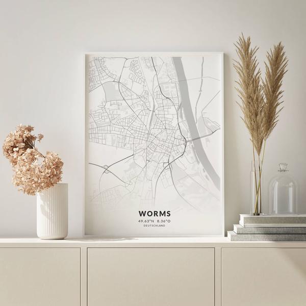 City-Map Worms im Stil Elegant