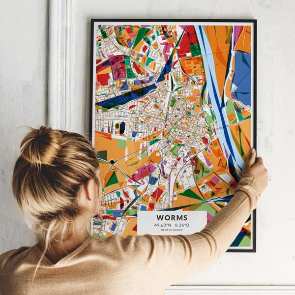 City-Map Worms im Stil Kandinsky