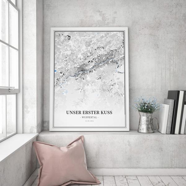 Stadtkarte Wuppertal im Stil Schwarzplan