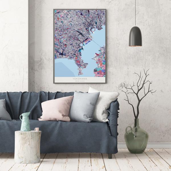 Stadtkarte Yokohama im Stil Primavera