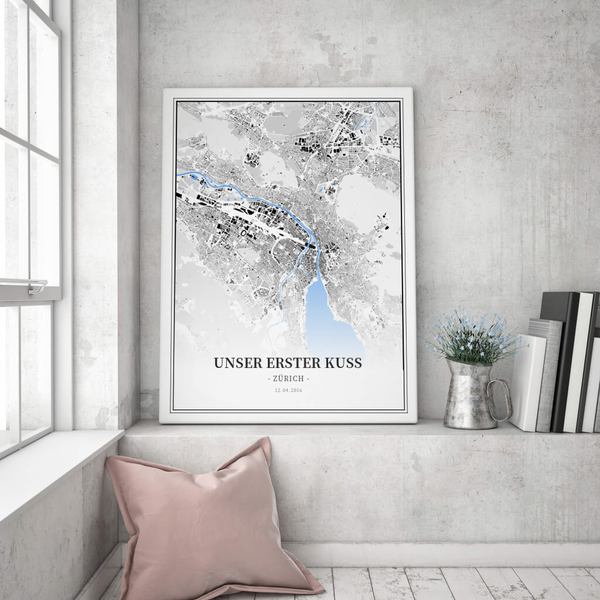 Stadtkarte Zürich im Stil Schwarzplan
