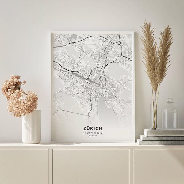 City-Map Zürich im Stil Elegant