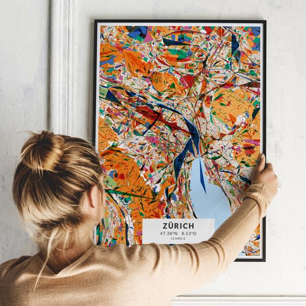 City-Map Zürich im Stil Kandinsky