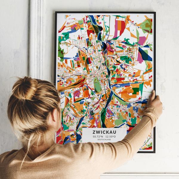 City-Map Zwickau im Stil Kandinsky